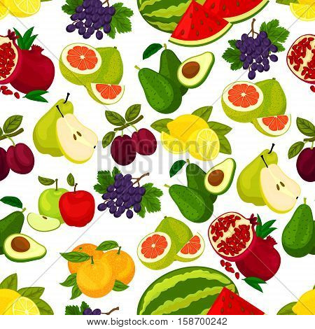 Fruits pattern. Vector seamless background of juicy watermelon and orange, avocado, pomegranate, plum and grape, citrus lemon, pomelo and apple, pear, grape. Whole and sliced fruits