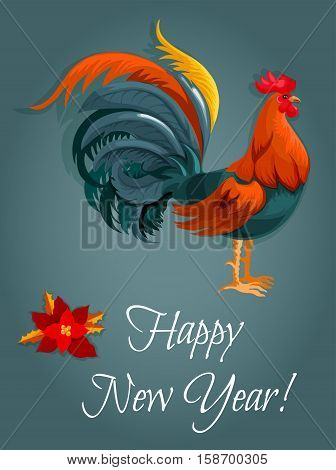 New Year greeting card with red rooster. New Year animal symbol with fire cock and poinsettia flower. Winter holiday themes design