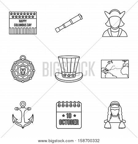 Pioneer icons set. Outline illustration of 9 pioneer vector icons for web