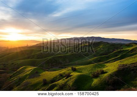 The rolling green hills in Chino California at sunrise