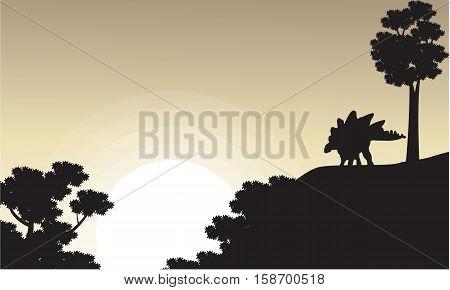 On the cliff stegosaurus scenery of silhouettes vector illustration