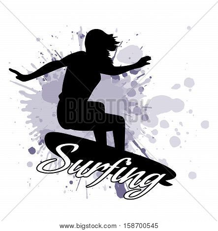 On the image presented silhouette of the girl of the surfer against the background of splashes in style grunge