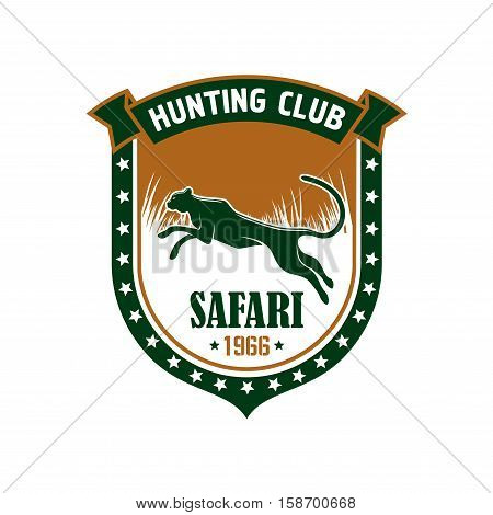Hunting sign. Hunters sport club vector isolated icon badge. African safari hunt adventure symbol with leopard, cheetah panther, shield, savannah, ribbon