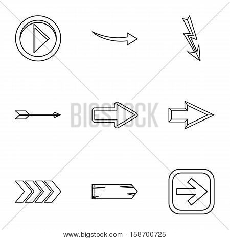 Cursor icons set. Outline illustration of 9 cursor vector icons for web