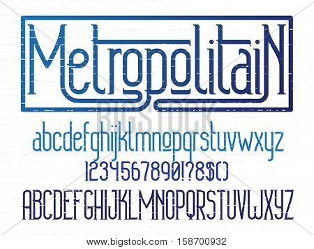 Metropolitain - modern thin line font. Minimalistic typeface. Alphabet letters and numbers with grunge lines