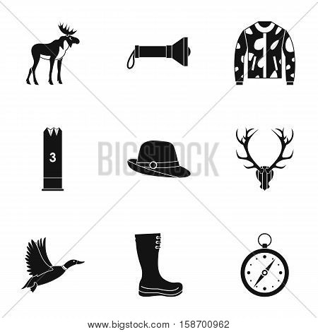 Shooting at animals icons set. Simple illustration of 9 shooting at animals vector icons for web