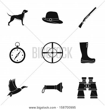 Hunting in forest icons set. Simple illustration of 9 hunting in forest vector icons for web