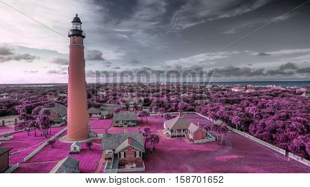 aerial infrared view on ponce de leon inlet lighthouse in Daytona Beach Florida