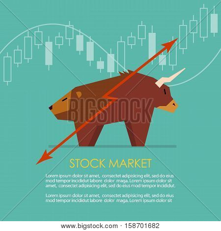 Bull and bear symbol of stock market with candle stick graph. vector illustration