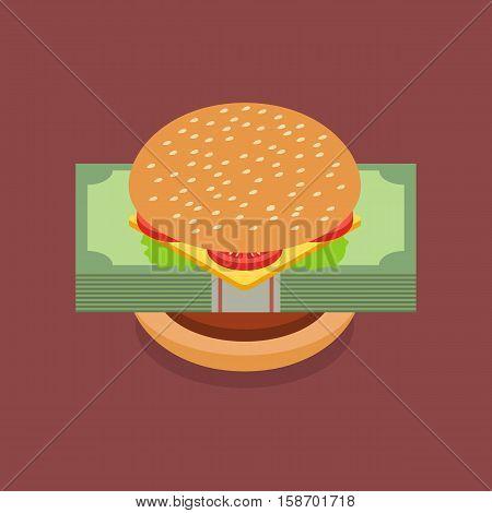 Hamburger with dollar banknotes. Hamburger crisis vector illustration