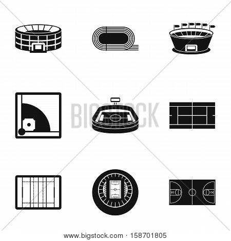 Game at stadium icons set. Simple illustration of 9 game at stadium vector icons for web
