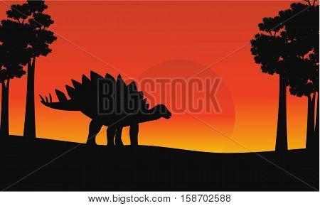 At sunrise dinosaur stegosaurus scenery vector illustration