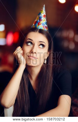 Sad Bored Woman at a Party Having No Fun