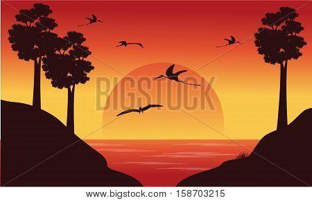 On the river dinosaur pterodactyl scenery illustration