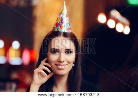 Happy Woman at Birthday Party in a Pub