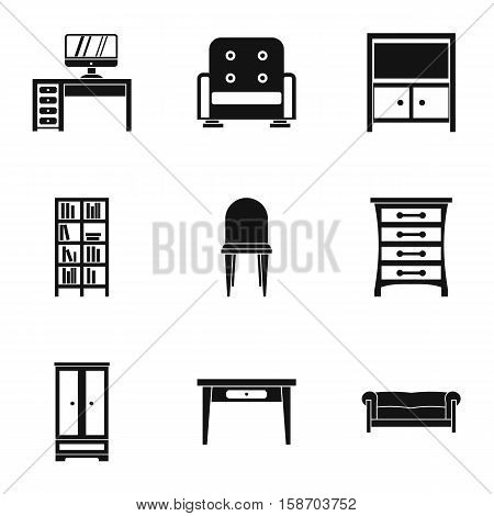 Home environment icons set. Simple illustration of 9 home environment vector icons for web