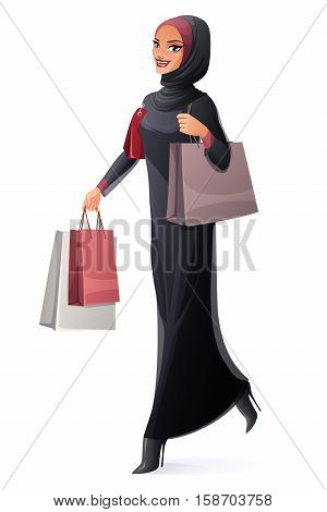 Beautiful young Muslim Arab woman in abaya and hijab walking with shopping bags and smiling. Cartoon style vector illustration isolated on white background.