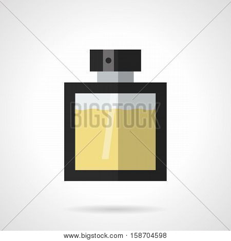 Elegance glass bottle with black frame. Male perfume series. Cologne, odor, perfumery and cosmetic products for men. Flat color style vector icon.