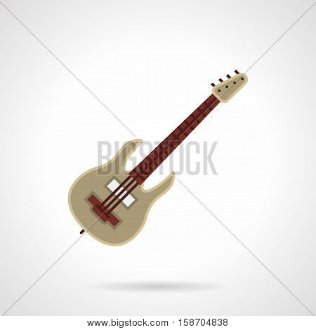 Symbol of rock music. Brown electric or bass guitar. Concept of musical festival, concerts, bands and other. Flat color style vector icon.