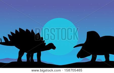 stegosaurus and triceratops scenery of silhouettes illustration