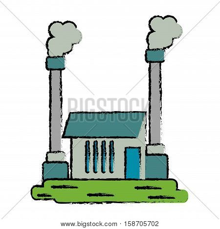 drawn industrial factory buiding pollution symbol vector illustration eps 10