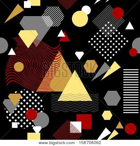 Abstract seamless pattern from geometric form in postmodern Memphis Style white black red beige for wallpaper or package or for clothes for decoration childish school subject or for creative design