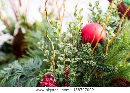 Fresh greenery arranged into beautiful Christmas decor
