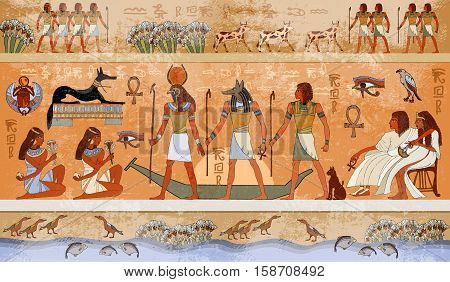 Ancient Egypt scene mythology. Egyptian gods and pharaohs. Hieroglyphic carvings on the exterior walls of an ancient temple. Egypt background. Murals ancient Egypt.