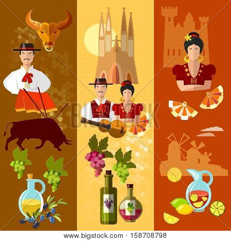 Spain banner traditions and culture spanish attractions and people bullfights flamenco toreros. Travel to Spain vector