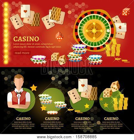 Casino infographic baccarat table play casino roulette vector illustration
