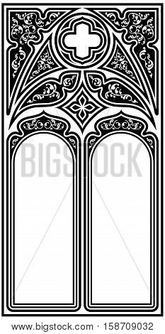 Frame for text in the Gothic style in the form of a stained-glass window on a white background.