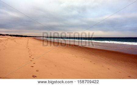 Hawks Nest beach on a cloudy day (Central Coast NSW Australia)