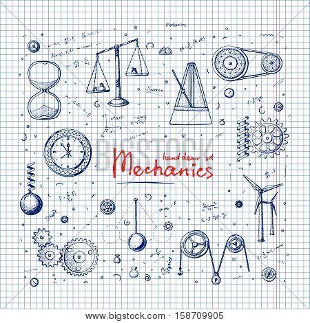 Handdrawn illustration set: Mechanics. Set in doodle style. Eps10 vector.