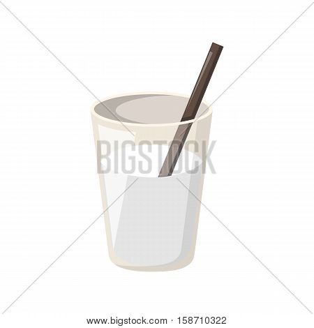 Vector cartoon illustration with isolated full milk glass with straw. Vector dairy products icon. Cartoon fresh milk background. Dairy healthy beverage