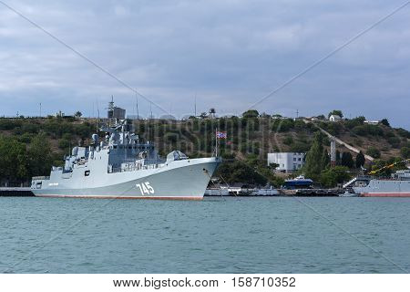 Sevastopol, Russia - June 09, 2016: Newest patrol ship Admiral Grigorovich 745. Warships in Sevastopol naval base Black Sea Fleet. Crimea