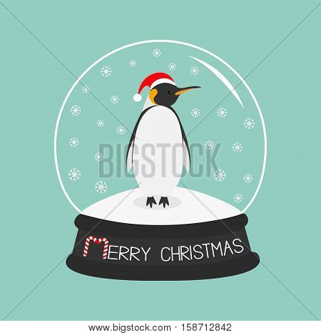 King Penguin Emperor in red santa hat. Cute cartoon character. Arctic animal collection. Baby bird. Crystal ball with snow. Merry Christmas card Candy cane text. Flat design Blue background. Vector