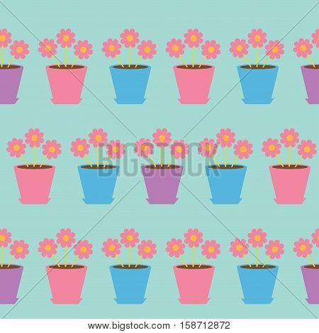 Pink daisy chamomile flower set in pot. Camomile Seamless Pattern Wrapping paper textile template. Blue background. Flat design. Vector illustration.