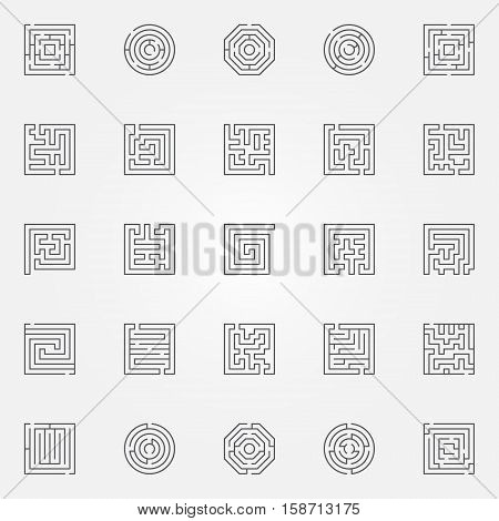 Labyrinth icons set. Vector square and round maze and labyrinth concept symbols in thin line style