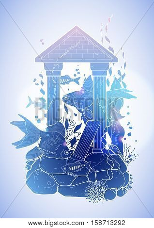 Graphic aquarium fish with architectural sculpture drawn in line art style. Isolated under water scenery in blue colors. Ancient Roman architecture.