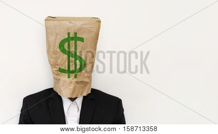 Businessman wearing crumpled brown paper bag, with green dollar sign, business bankruptcy concept, with copy space