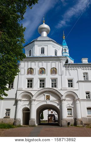 Main entrance to the Valaam Savior Transfiguration (Spaso-Preobrazhensky) monastery.  Karelia, North of Russia.