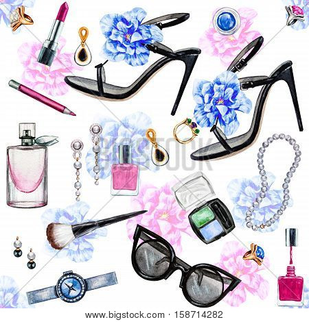 Seamless watercolor pattern with various female accessories and flowers. High heel shoes perfumes lipstick earrings rings nail polish watch sunglasses. Hand drawn accessories