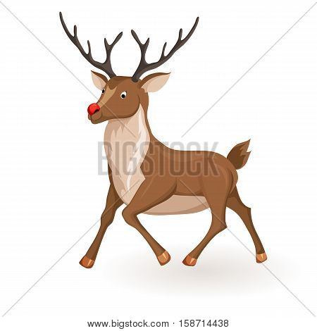 Reindeer runs or fly Christmas vector illustration. Galloping deer with red nose. Cartoon profile reindeer runs. Xmas holiday icons