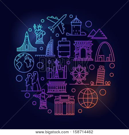Travel round colorful illustration. Vector thin line air travelling and tourism minimal symbol made with landmark and plane icons on dark background