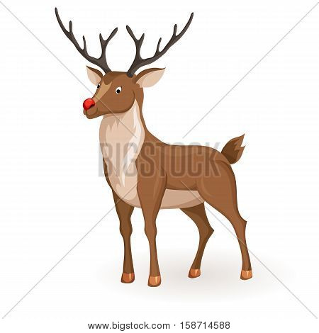 Reindeer Christmas vector illustration. Stand deer with red nose. Cartoon reindeer hold profile. Xmas holiday icons