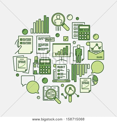 Audit round green sign. Vector business analytics and analysis circular sign
