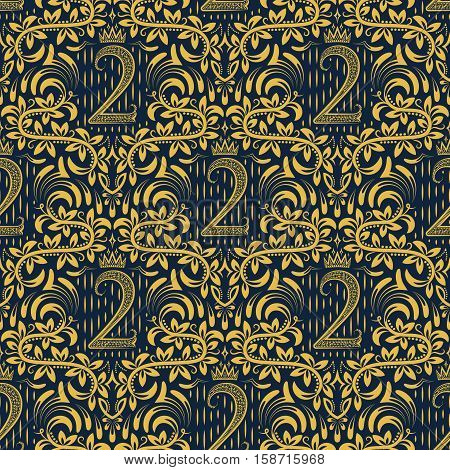 Damask seamless pattern repeating background. Golden blue floral ornament number two and crown in baroque style. Antique golden repeatable wallpaper.