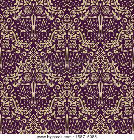 Damask seamless pattern repeating background. Gray purple floral ornament in baroque style. Antique golden repeatable wallpaper