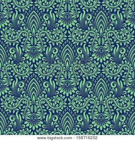 Damask seamless pattern repeating background. Blue green floral ornament in baroque style. Antique repeatable wallpaper