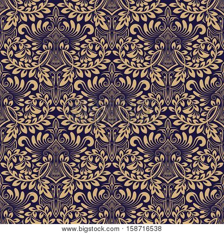 Damask seamless pattern repeating background. Blue beige floral ornament in baroque style. Antique repeatable wallpaper design.